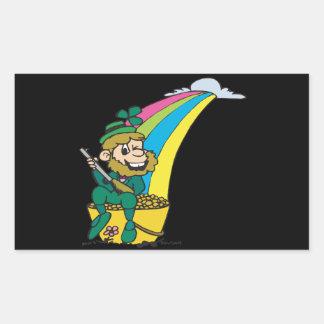 Debajo del arco iris rectangular pegatinas