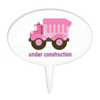 Debajo del camión del rosa de la construcción decoraciones para tartas