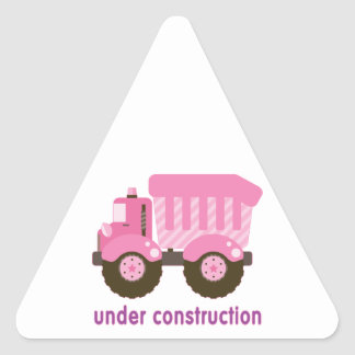 Debajo del camión del rosa de la construcción calcomania de trianguladas