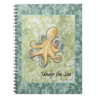 Debajo del cuaderno del pulpo del mar
