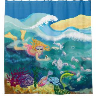 Debajo del mar cortina de baño