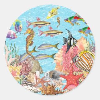 Debajo del mar pegatina redonda