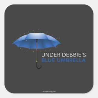 Debajo del paraguas azul de Debbie Pegatina Cuadrada