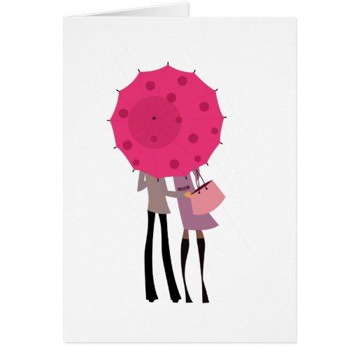 Debajo del paraguas tarjeta de felicitación