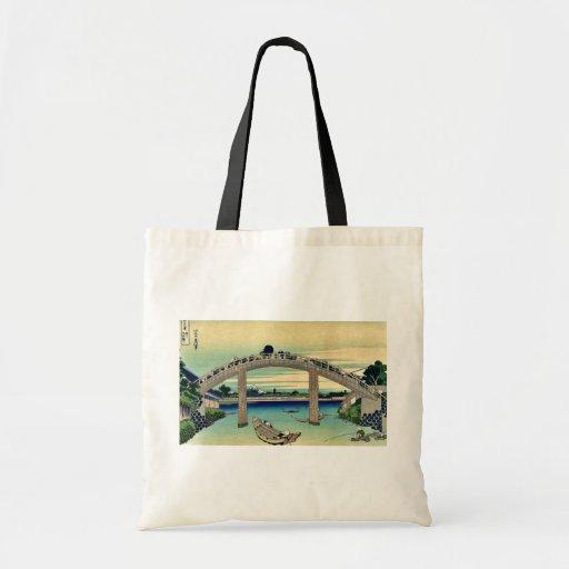 Debajo del puente de Mannen por Katsushika, Hokusa Bolsa