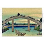 Debajo del puente de Mannen por Katsushika, Hokusa Tarjeton