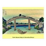Debajo del puente de Mannen por Katsushika, Hokusa Postal