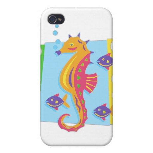 Debajo del seahorse del mar iPhone 4 carcasas