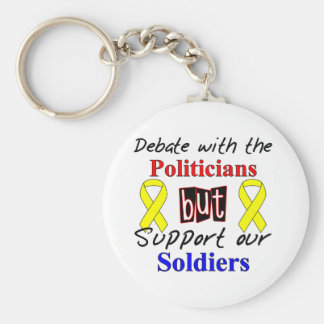 Debate with the politicians but support our Soldie Basic Round Button Keychain
