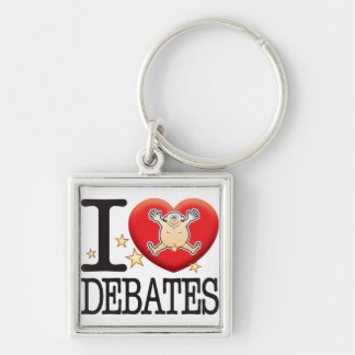 Debates Love Man Silver-Colored Square Keychain