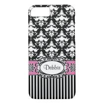 Debbie Does Paris Retro Pink and Black Damask iPhone 7 Case