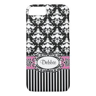 Debbie Does Paris Retro Pink and Black Damask iPhone 8/7 Case