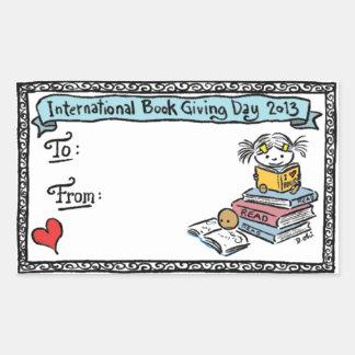 Debbie Ohi - Book Giving Day bookplate Rectangular Sticker