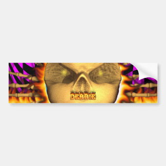 Debbie skull real fire and flames bumper sticker. bumper sticker