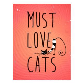 Debe amar gatos postal