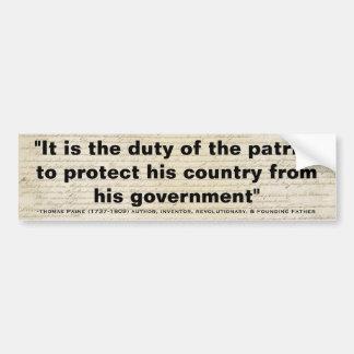 DEBER de Thomas Paine de la cita del PATRIOTA Pegatina Para Auto