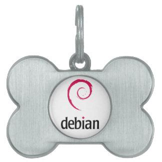 debian Linux bone-shaped pet tag