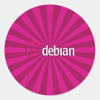 Debian Starburst Pegatina Redonda