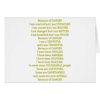 Debido a cáncer tarjeta de felicitación