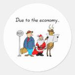 Debido a la economía Santa Etiqueta Redonda