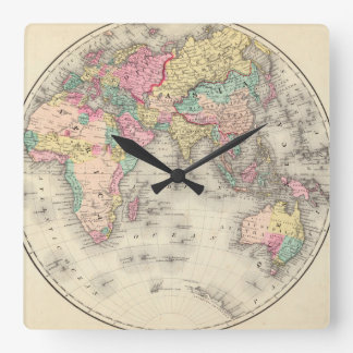 Debilitated World Map_Maps of Antiquity Square Wall Clock