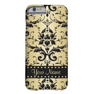 Debonair Black Damask Metallic Gold Monogram Barely There iPhone 6 Case