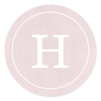 Debonair Blush Pink Monogram Classic Round Sticker