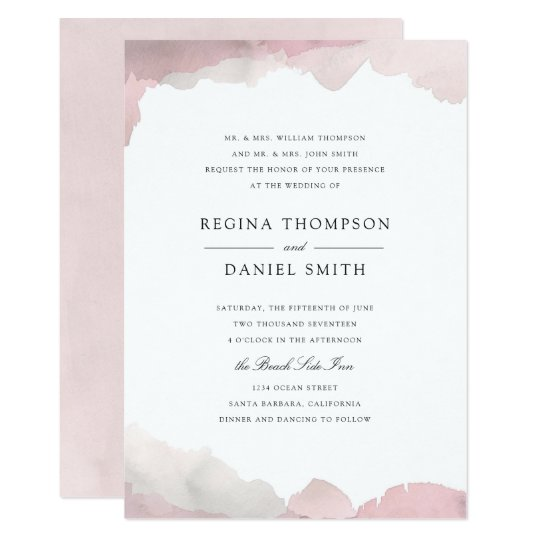 debonair blush pink wedding invitation zazzle com