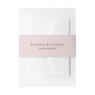 Debonair Blush Pink Wedding Invitation Belly Band