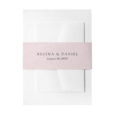 origamiprints Debonair Blush Pink Wedding Invitation Belly Band