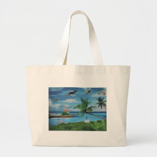 Debonair Coconut Palm Tree Vogue Beach stylish Large Tote Bag