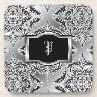 Debonair Damask Black, White, Silver Beverage Coaster