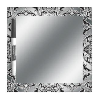 Debonair Damask Black, White, Silver Dry Erase Board