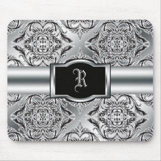Debonair Damask Black, White, Silver Mouse Pad