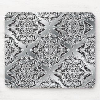 Debonair Damask Black, White, Silver Mousepads