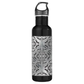 Debonair Damask Black, White, Silver 24oz Water Bottle