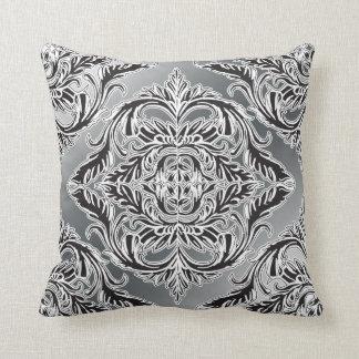 Debonair Damask Black, White, Silver Pillows