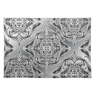 Debonair Damask Black, White, Silver Cloth Placemat