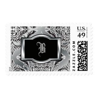 Debonair Damask Black, White, Silver Postage Stamp