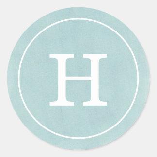 Debonair Turquoise Monogram Classic Round Sticker