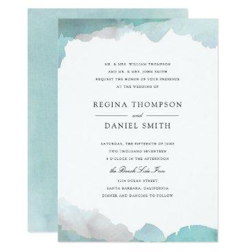 Beach Themed Debonair Turquoise Wedding Invitation