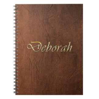 DEBORAH Faux Leather Brown Texture Arty Notebook