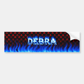 Debra blue fire and flames bumper sticker design.