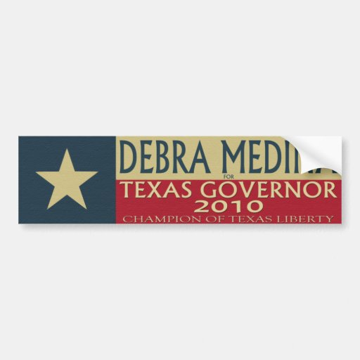 Debra Medina para el gobernador 2010 de TX - Stick Pegatina De Parachoque