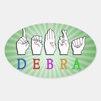DEBRA NAME SIGN FINGERSPELLED ASL OVAL STICKER