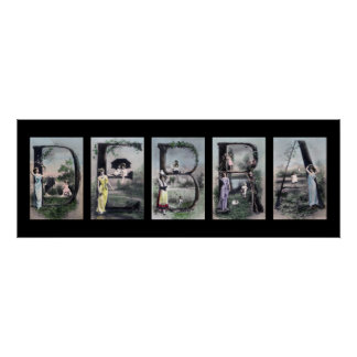 DEBRA Vintage Alphabet Letter Name Art Print