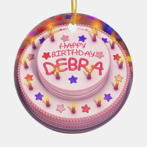 Debra's Birthday Cake Double-Sided Ceramic Round Christmas Ornament