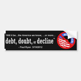 Debt, Doubt, Decline Car Bumper Sticker