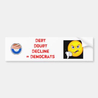 Debt, Doubt, Decline, Democrats Car Bumper Sticker