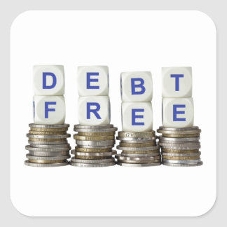Debt Free Square Sticker